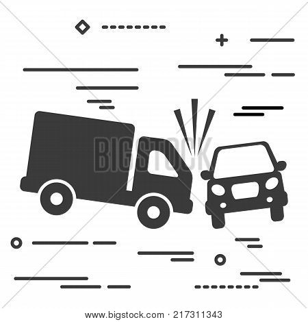 Flat Line design graphic image concept of truck and car crash vector illustration, two automobiles collision, auto accident scene isolated on white background