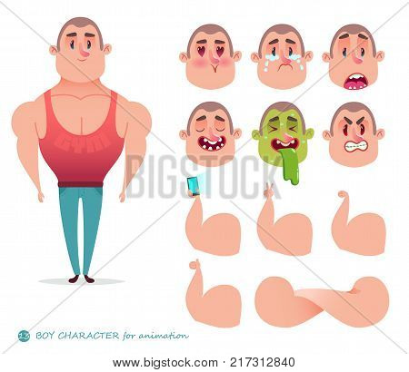 Man character for your scenes.Parts of body template for design work and animation. Funny cartoon.Vector illustration isolated on white background. Set for character animations.athlete, body-builder