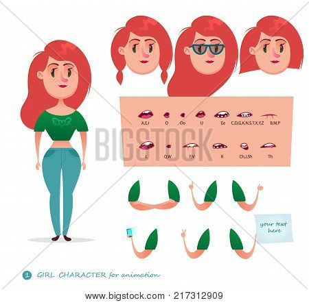 Girl character for your scenes.Parts of body template for design work and animation. Funny cartoon.Vector illustration isolated on white background. Set for character speaks animations.Student.Woman