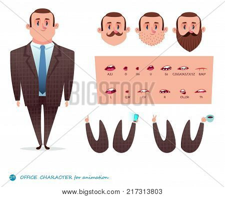 Man character for scenes.Parts of body template for design work and animation. Funny office boy cartoon.Vector illustration isolated on white background. Set for character speaks animations.men s suit