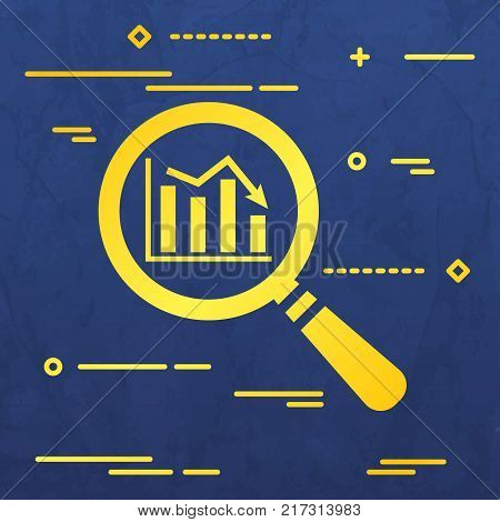 Flat Line design graphic image concept of search icon of graph going down in magnifying glass on a blue  paper layer background
