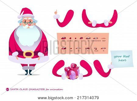 Santa Claus Character For Scenes.Parts Of Body Template For Design And  Animation.Funny