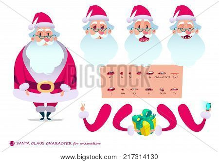 Santa Claus character for scenes.Parts of body template for design and animation.Funny cartoon.Vector illustration isolated on white background. Set for character speaks animations.Christmas.New Year.
