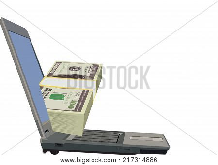 computer internet connection with wad dollars computer internet connection with wad dollars