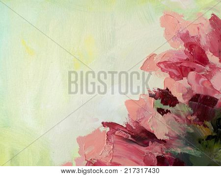 Abstract acrylic on canvas hand painted floral background. Colorful oil pink, yellow and green flower texture with painting knife. Brush strokes. Modern art. Spring design