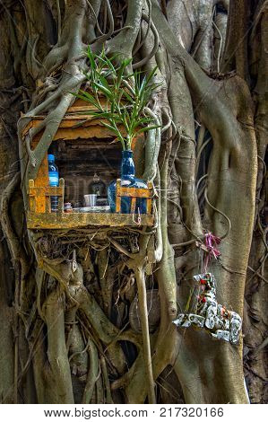Miniature house for guardian spirit. A dedicated structure to honor the guardians of the land that is found in the Southeast Asian countries.