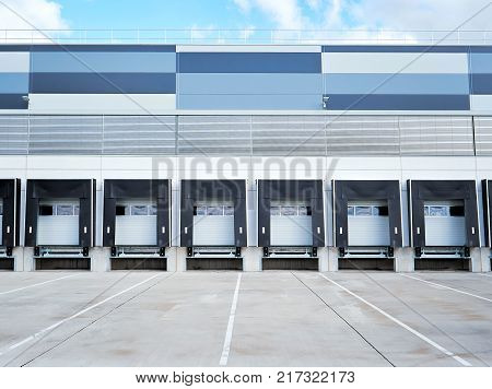 Modern Industrial building exterior and commercial warehouse