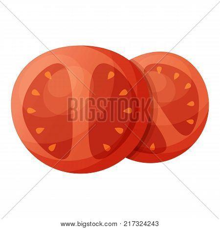 Tomato piece icon. Cartoon illustration of tomato piece vector icon for web