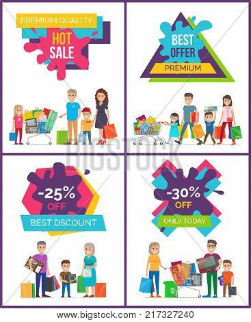 Best discount -25 off, hot sale, premium quality, collection of placards depicting shopping people spending their time shopping vector illustration