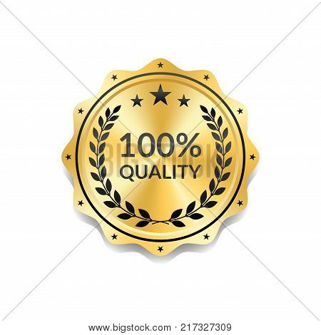 Seal award gold icon. Blank medal isolated white background. Golden design emblem. Laurel wreath stars. Symbol of assurance winner guarantee and best label premium quality. Vector illustration