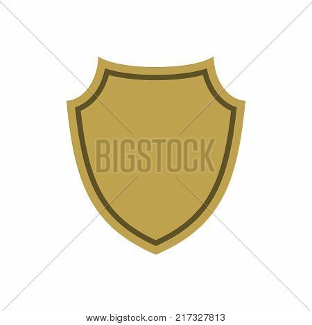 Shield shape gold icon. Simple flat logo on white background. Symbol of security protection safety strong. Element badge for secure protect design emblem decoration. Vector illustration