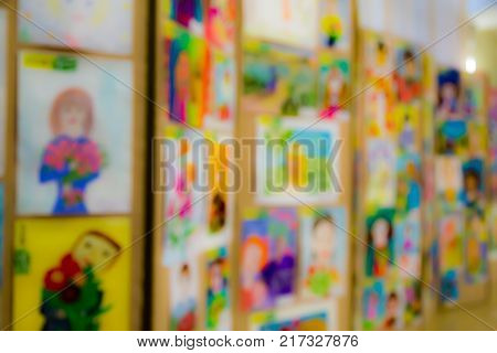 Competition of children's drawings. Exhibition of children's art. Unfocused image