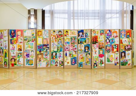 The city of Saratov, Russia, December 8, 2017: Competition of children's drawings. Exhibition of children's art