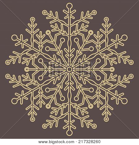 Round vector golden snowflake. Abstract winter ornament. Fine snowflake