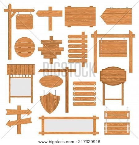 Wooden signages set. Signs and symbols to communicate a message on street or road, emblems of signboards. Vector flat style cartoon illustration isolated on white background