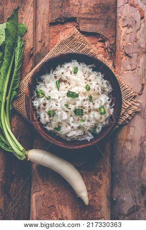 dry radish raita or kachumbar or mooli koshimbir