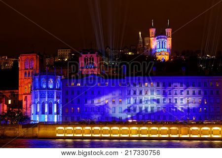 Lyon, France, December 7, 2017 : Festival Of The Lights In Lyon. For Four Nights A Variety Of Differ