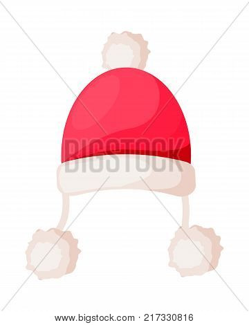 Santa Claus hat with strings ending in pompoms isolated on white. Winter fur woolen cap. Father Christmas hat with rim and ball on top. Flat icon winter snowboard accessory in cartoon style vector