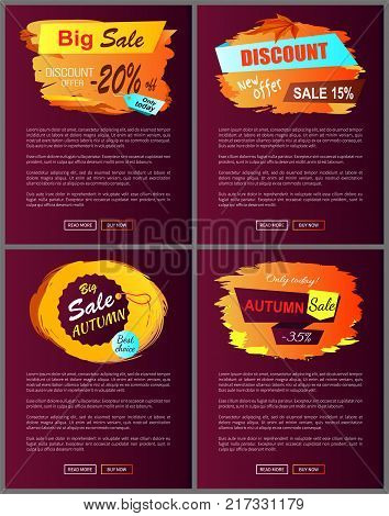Big autumn sale new offer discounts only today best choice 15 20 35 off set of vector posters with text online web pages with color fall labels