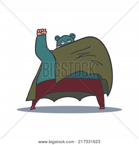 Cartoon Hand Drawn Super Hero Character with Cloak. Vector illustration