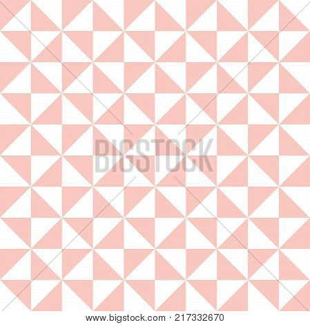 Geometric vector pattern with pink and white triangles. Geometric modern ornament. Seamless abstract background