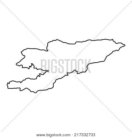 Kyrgyzstan map of black contour curves on white background of vector illustration