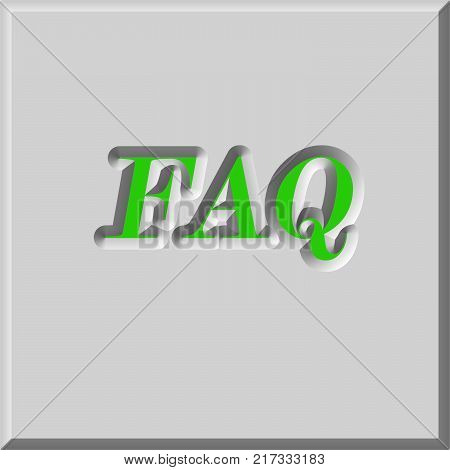 FAQ word sign close up on button of keyboard computer. Frequently Asked Questions concept. 3d illustration