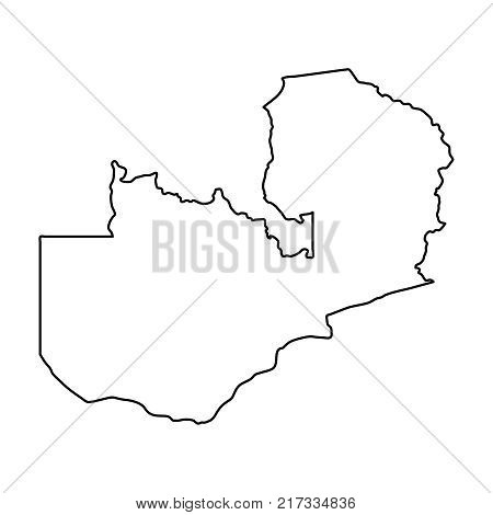 Zambia map of black contour curves on white background of vector illustration