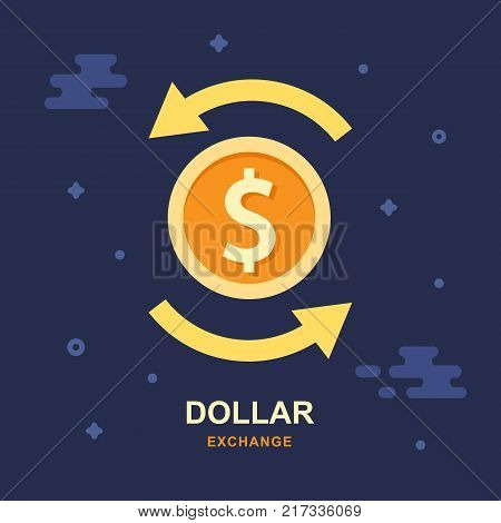 Dollar currency exchange concept. Stock market. Vector logo design