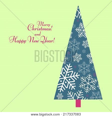 Pattern with a tree of snowflakes with text Happy New Year Winter background for New Year and Christmas Pattern for greeting card posters of wallpaper covers Background for invitations template Vector