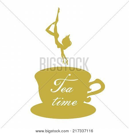 Silhouettes of girl diving into cup of tea. Girl Dives Into Tea. Vector illustration. Tea time