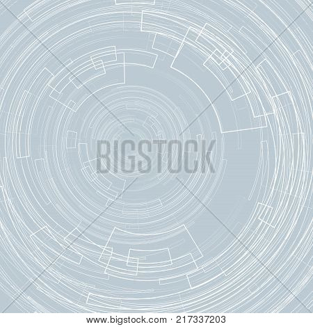 Abstract geometric background with concentric circles Light circles on a gray background graphic geometric lines Technology futuristic Design element for templates banners web Vector image