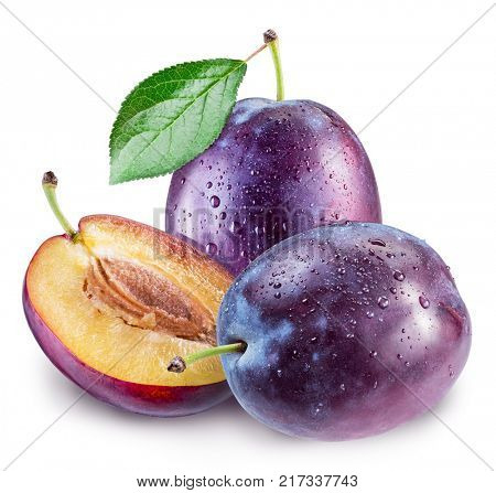 Plums with plum leaf and water drops. File contains clipping path.