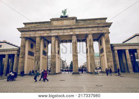 Berlin, Germany - December 06,2017: Berlin Brandenburg Gate (brandenburger Tor), Berlin, Germany