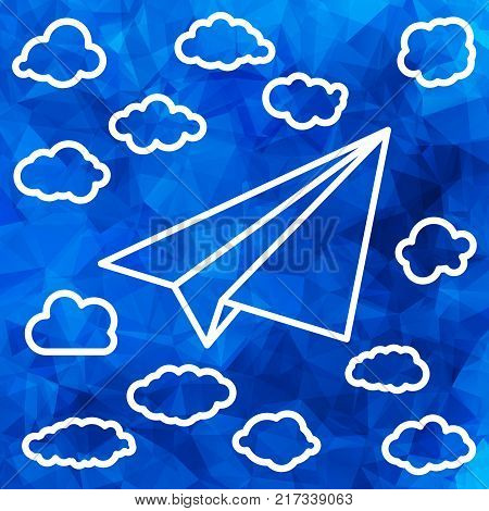 White linear paper airplane with clouds on the abstract triangular background