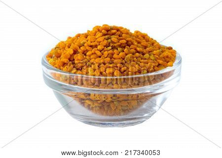 Bee pollen propolis on a white background
