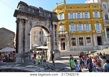 PULA CROATIA - SEPTEMBER 1 2017:Arch of the Sergii; Arch of the Sergii is a well-preserved ancient Roman triumphal arch located in Pula.