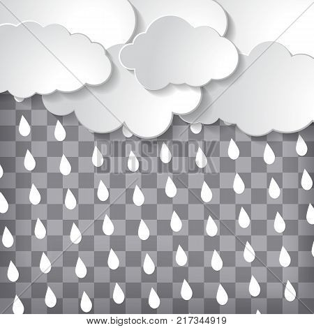 abstract clouds with rain drops on a grey chequered background