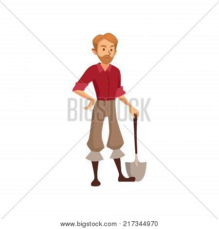 Young farmer with shovel, gardener at work cartoon vector Illustration on a white background