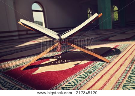 Quran in the mosque - open for prayers.