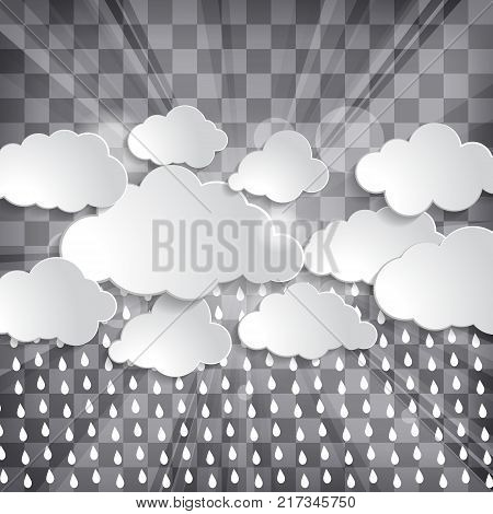 clouds with sun rays and rain drops on a chequered background
