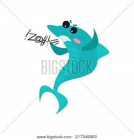 Cute swearing shark cartoon character, funny blue fish vector Illustration on a white background