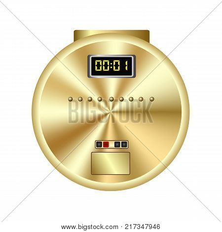 colorful illustration with gold player for compact disc isolated on a white background