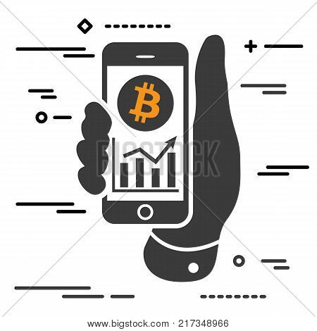 bitcoin cryptocurrency profit chart on the screen of phone