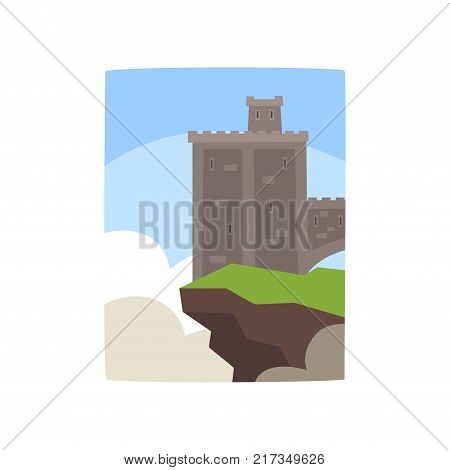 Cartoon illustration of gray castle with little turret on edge of cliff. Colorful landscape with old fortress. Historical architecture icon. Flat vector design for kids story book or mobile game.