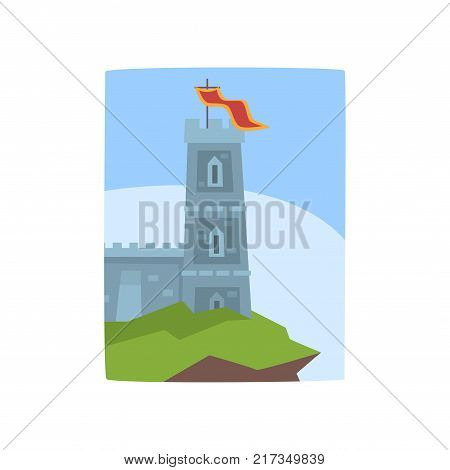 Fantasy castle on edge of cliff. Medieval castle icon. Historical architecture. Colorful landscape with fairytale kingdom. Flat vector illustration. Design for invitation card, book cover or placard.