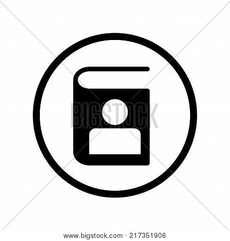 Vector of Address Phone book icon in Circle line iconic symbol inside a circle on white background. Vector Iconic Design.