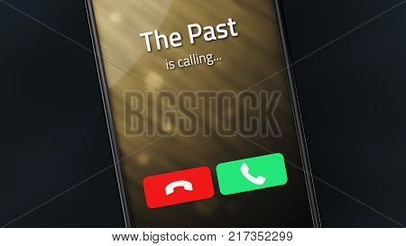 Incoming call from The Past on a smartphone. 3D illustration