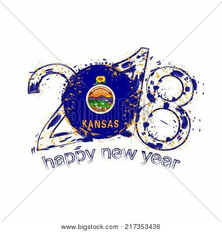 2018 Happy New Year Kansas US State grunge vector template for greeting card calendars 2018 seasonal flyers christmas invitations and other.