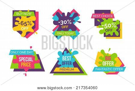 Buy now and best choice, fantastic offer only today, stickers and labels with blots, ribbons and geometric shapes with text vector illustration